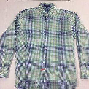 Alan Flusser Bright Plaid Button Front Shirt M